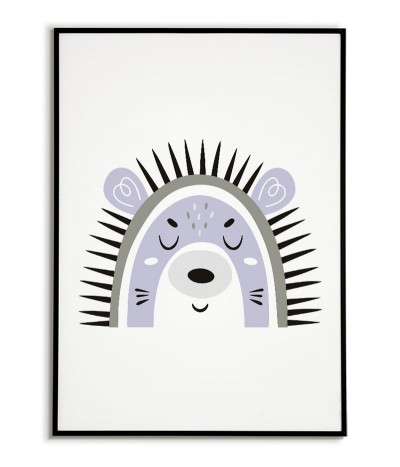 A poster for a child with a hedgehog in a modern style. Frame graphics perfect for a child's room.