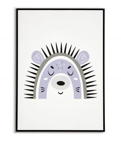 Plakat dla dziecka z jeżem w nowoczesnym stylu. Grafika do ramki idealna do pokoju dziecięcego.