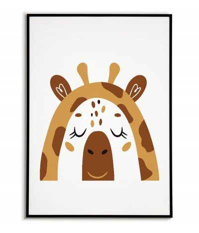 A poster for a child with a giraffe in a modern style. Frame graphics perfect for a child's room.