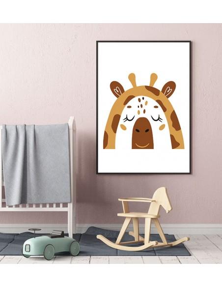 Plakat dla dziecka z żyrafą w nowoczesnym stylu. Grafika do ramki idealna do pokoju dziecięcego.