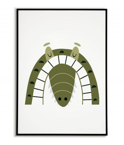 A poster for a child with a crocodile in a modern style. Frame graphics perfect for a child's room.