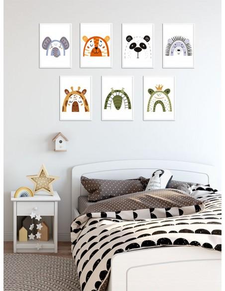 Plakat dla dziecka z krokodylem w nowoczesnym stylu. Grafika do ramki idealna do pokoju dziecięcego.