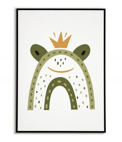 A poster for a child with a frog in a modern style. Frame graphics perfect for a child's room.