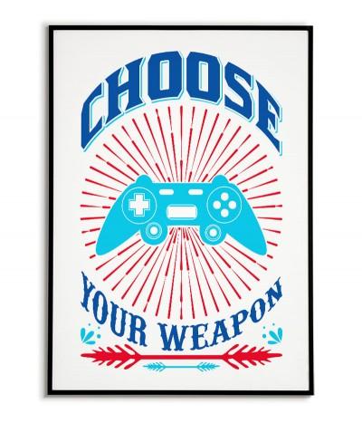 """Plakat dla gracza z padem i napisem """"Wybierz swoją broń"""" Nowoczesna grafika do pokoju gracza"""