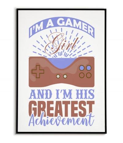 """Plakat, grafika dla dziewczyny gracza z padem i napisem """"I`m a gamer girl"""" plakat dla grającej dziewczyny"""