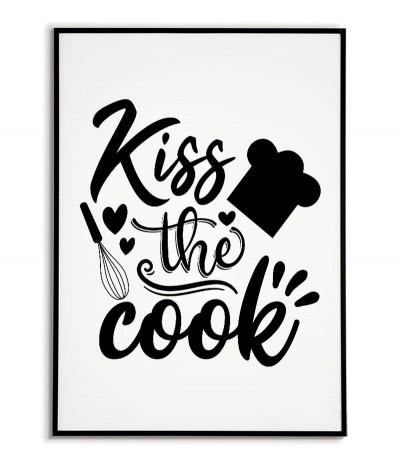 """Plakat do kuchni z napisem """"Pocałuj kucharza"""" Nowoczesna grafika do ramki idealna do jadalni lub kuchni."""