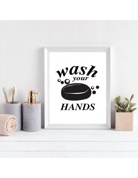 """Plakat, grafika do łazienki z mydłem i napisem """"Wash your hands"""" Myj swoje ręce, plakat"""