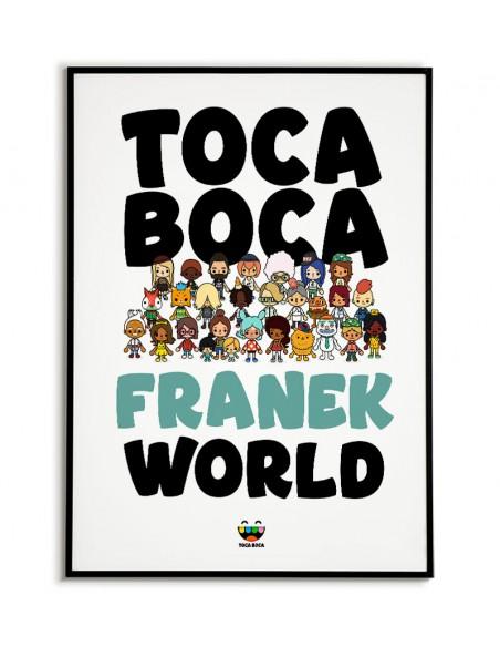 Plakat z gry Toca Boca World personalizowany z imieniem. Plakat dla gracza do pokoju. Grafika do ramki Toca boca