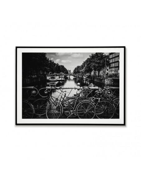 Czarno biały plakat, obraz, grafika do ramki. Plakat Amsterdam Holandia z rowerami idealna do ramki.