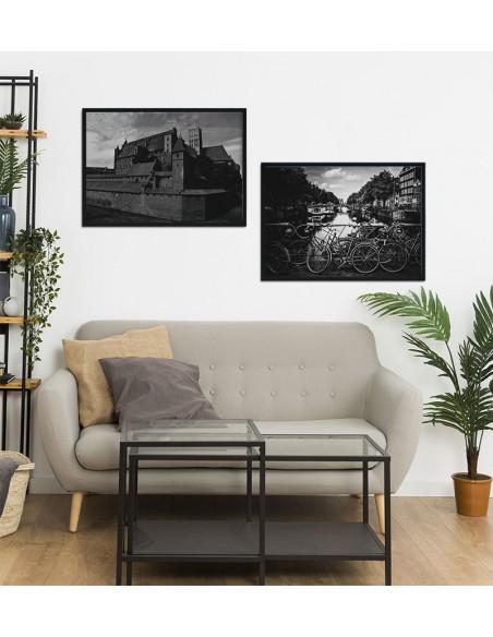Plakat Malbork, czarno biała grafika do ramki z zamkiem w Malborku.
