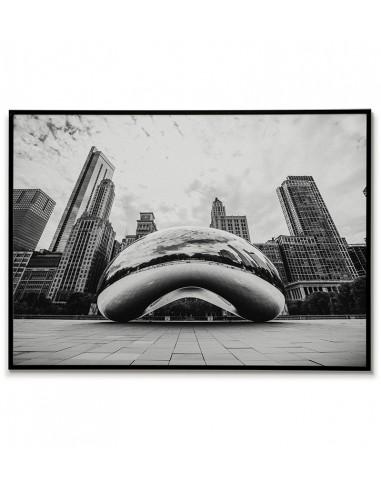 Plakat Z miastem Chicago w USA, na grafice widoczna Chicagowska fasola. Plakat czarno biały do ramki
