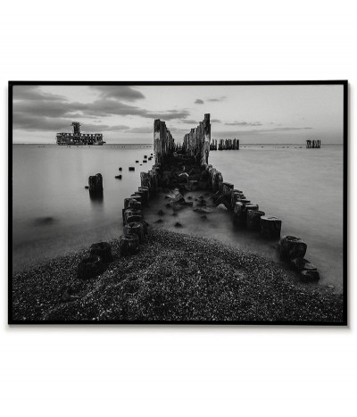 Plakat, grafika do ramki w formie fotografii czarno białej. Gdynia, Białe Doły piękny plakat na ścianę