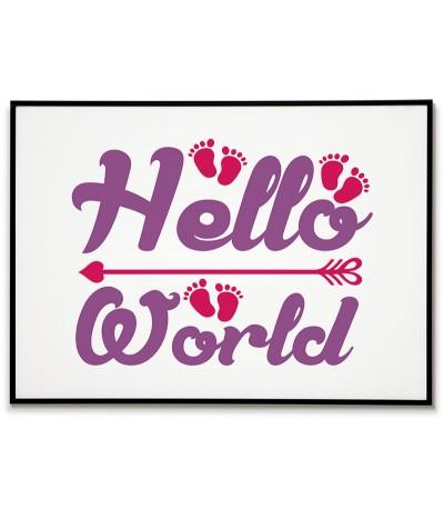 """Plakat do pokoju chłopca lub dziewczynki w stylu skandynawskim z prostą grafiką i napisem """"Hello World"""""""