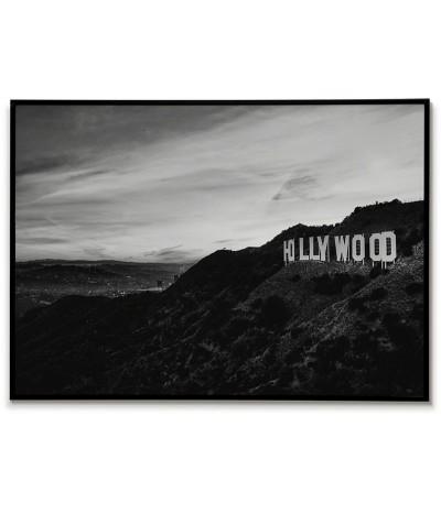 Hollywood, USA Plakat, grafika do ramki. Plakat czarno biały z napisem Hollywood