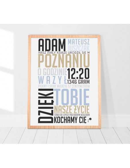 Metryczka dla dziecka typograficzna