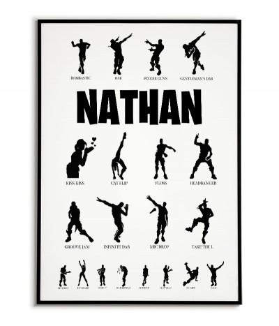 Fortnite plakat personalizowany dla gracza z imieniem oraz z listą tańca. Grafika idealna dla każdego fana gry fortnite.