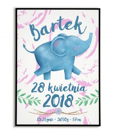 Metryczka dla dziecka z datą urodzenia, imieniem. Na metryczce znajduje się słodki niebieski słonik.