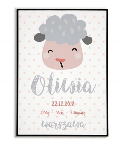 Metryczka dla dziecka z datą urodzenia, imieniem. Na metryczce znajduje się słodka owieczka