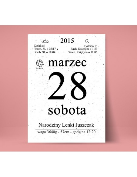 Birth date - Calendar card - Wedding souvenir, anniversary
