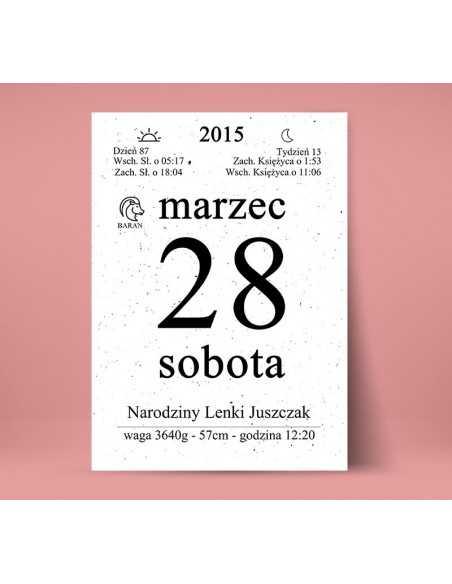 kartka z kalendarza wersja klasyczna, metryczka dla dziecka pamiątka ślubu, rocznicy