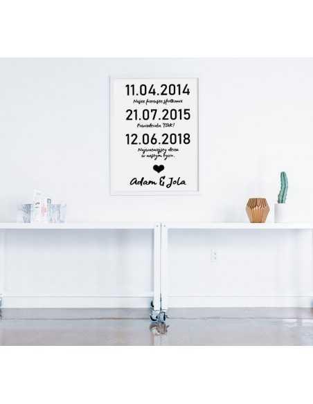 Plakat ślubny z ważnymi datami - Pamiątka ślubna na prezent