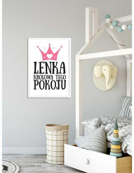 Spersonalizowany plakat dla dziecka, królowa tego pokoju dla dziewczynki