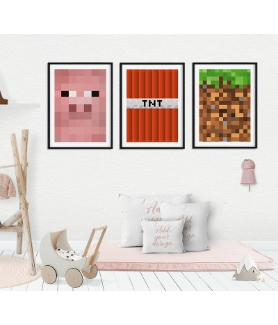 Triptych set of 3 Minecraft...