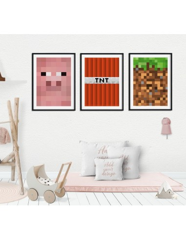 Triptych set of 3 Minecraft images -...