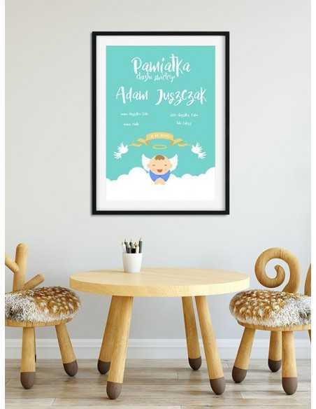 Plakat pamiątka chrztu świętego dla chłopca idealny na prezent