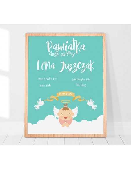 Plakat pamiątka chrztu świętego dla dziewczynki idealny na prezent