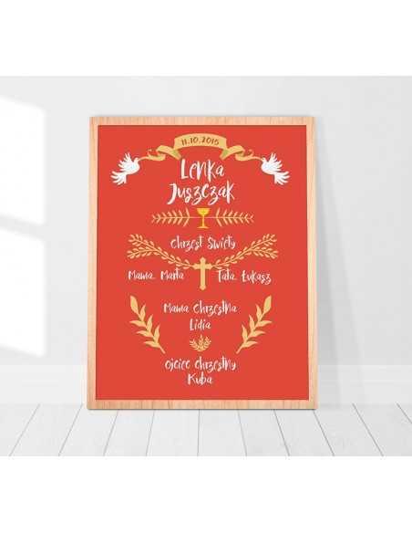 Plakat pamiątka chrztu świętego dla chłopca lub dziewczynki z gołębiami idealny na prezent