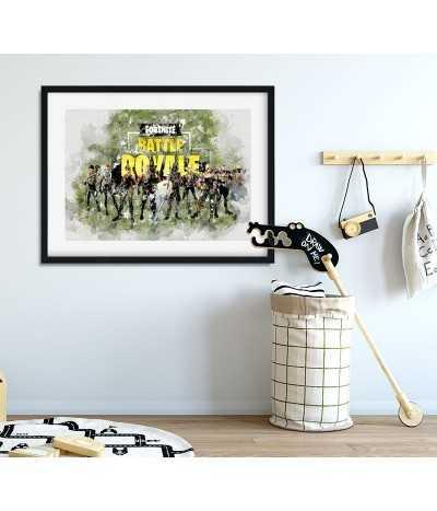 Plakat fortnite Battle royale do ramki wykonany z akwareli. Do pokoju gracza
