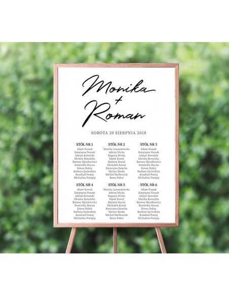 Plakat ślubny z rozpiską stołów - Informacja dla gości - Lista stołów