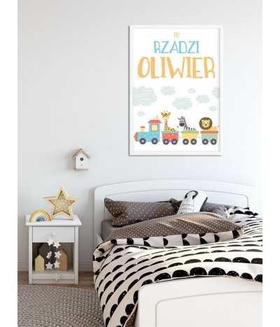 Tu rządzi plakat obrazek z imieniem dziecka do pokoju z lokomotywą i zwierzątkami.