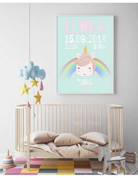 metryczka dla dziecka - różowa z jednorożcem i tęczą obrazek do ramki personalizowany