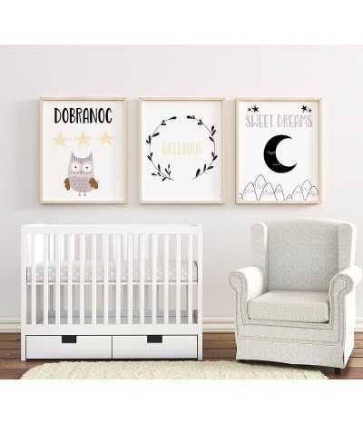 Słodki zestaw trzech obrazków, plakatów dla dzieci do ich pokoju z sową i księżycem. Nowoczesny skandynawski zestaw plakatów