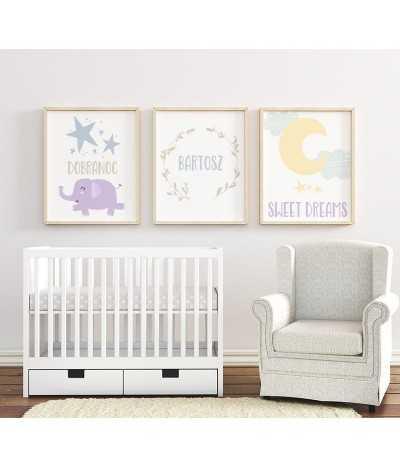 Słodki zestaw trzech obrazków, plakatów dla dzieci do ich pokoju z słoniem i księżycem. Nowoczesny skandynawski zestaw plakatów