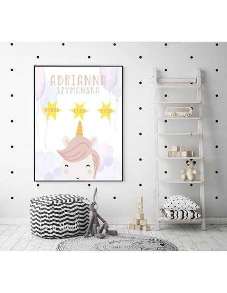 Różowa metryczka z jednorożcem i gwiazdkami z okazji narodzin dziecka idealne jak prezent.