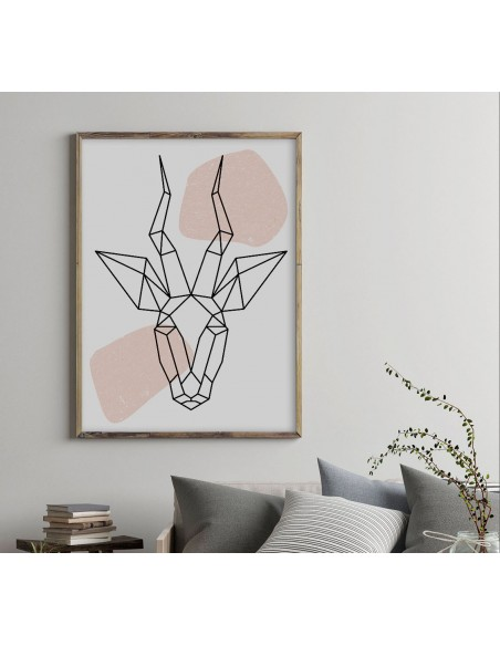 Plakat geometryczny ze zwierzętami plakat z antylopą w stylu skandynawskim boho
