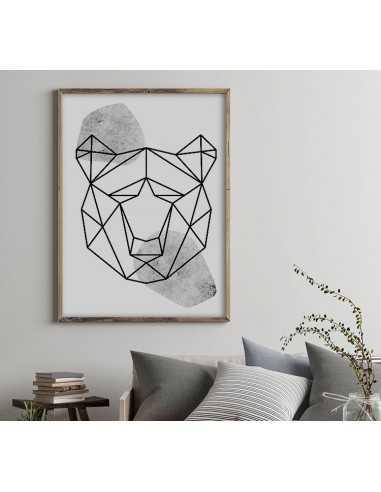 Geometryczne Zwierzęta Plakat Z Niedźwiedziem W Stylu Skandynawskim