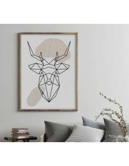 Plakat geometryczny ze zwierzętami plakat z jeleniem w stylu skandynawskim boho