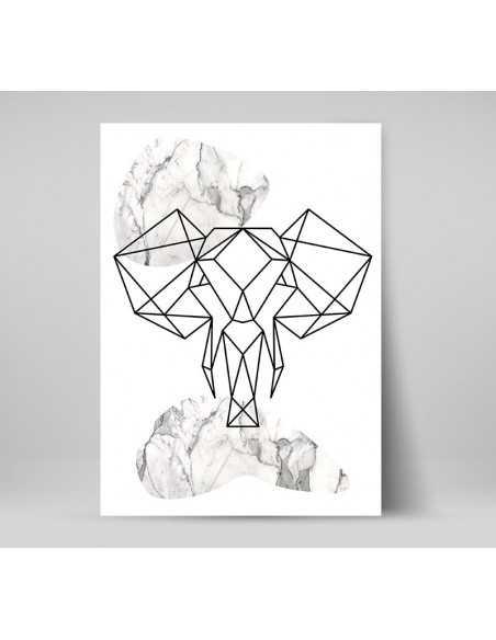 Plakat geometryczny ze zwierzętami plakat ze słoniem w stylu skandynawskim boho