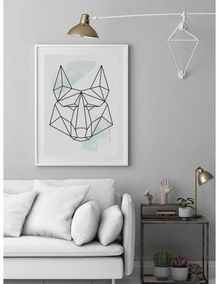 Plakat geometryczny ze zwierzętami plakat z wilkiem w stylu skandynawskim boho