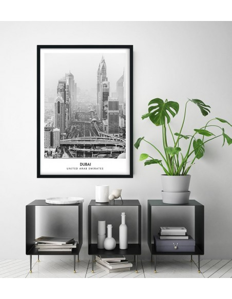 Dubai poster with photo in the Scandinavian style, Arab Emirates