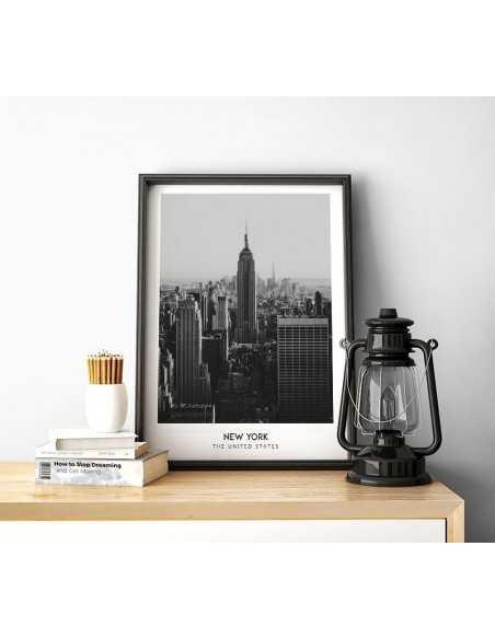 Plakat z nowym yorkiem stany zjednoczone. Plakat czarno biały ze zdjęciem nowego jorku