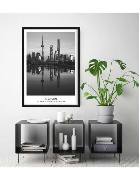 Poster with Shanghai in China. Black and white poster with a photo of Shanghai