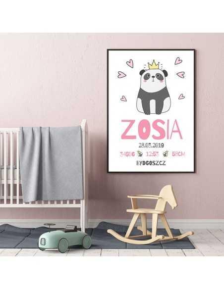 metryczka z pandą i serduszkami dla dziecka na ścianę