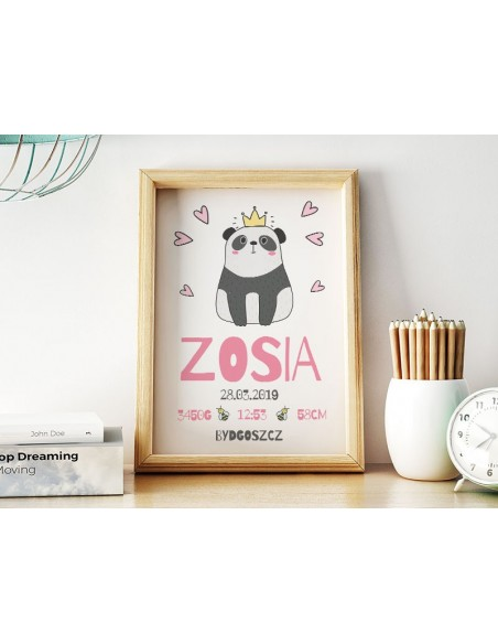 Panda with baby pans and hearts for the wall