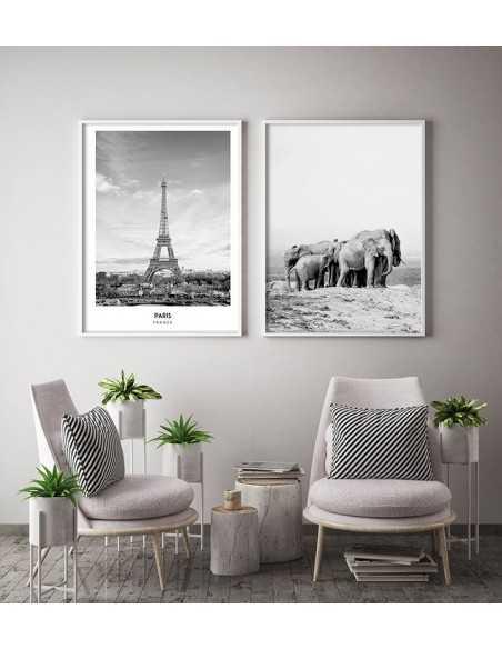 rodzina słoni, plakat skandynawski ze słoniem czarno biały