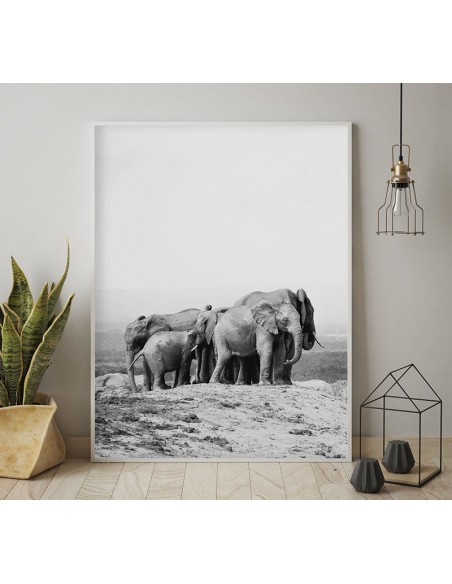 family of elephants, Scandinavian poster with black and white